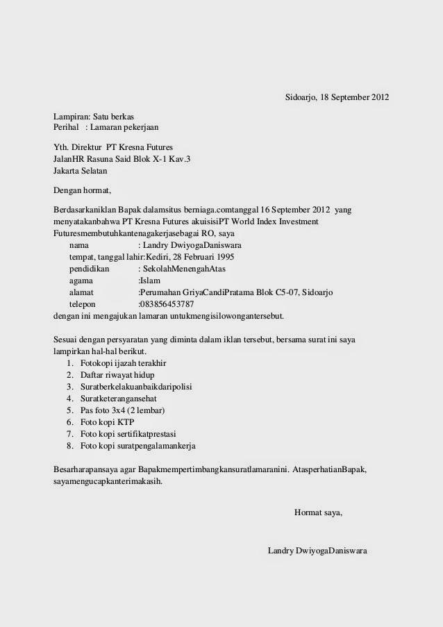 Contoh Surat Lamaran Kerja Bank Btn Syariah 2018 Slamark