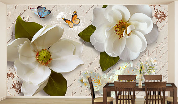 Фотоошпалери Білі квіти в интер'єрі вітальні