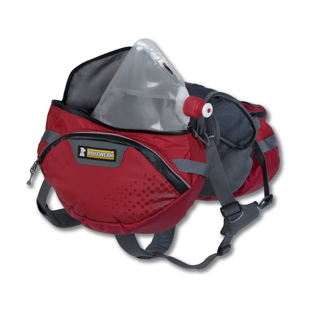 Dog Backpack includes water bladders that dissipate heat