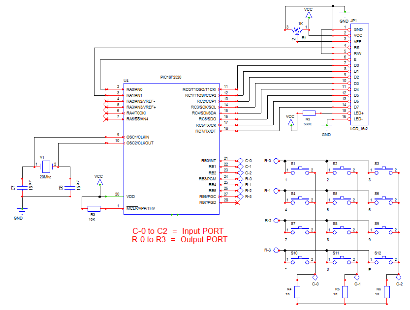 Awesome Matrix Keypad 4X3 Interface With Microcontroller Electronics Guru Wiring Database Ilarigelartorg