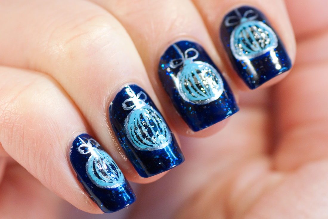 Blue Christmas Ornament Nails - May contain traces of polish