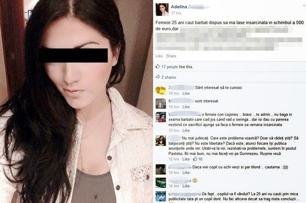 Romanian lady posts Facebook ad offering men £350 to get her pregnant