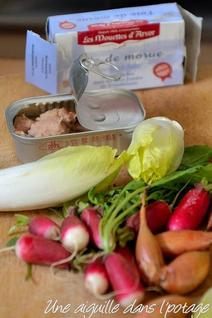 légumes et foie de morue fumée les Mouettes d'Arvor