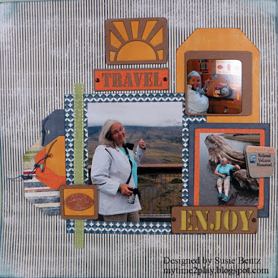 Travel Scrapbook Page featuring the June 2016 Club Q Kits designed by Susie Bentz