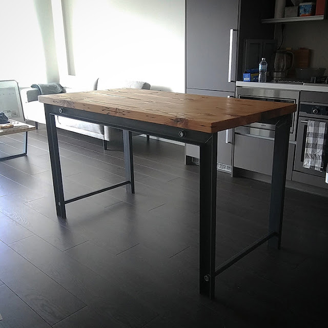 Custom, reclaimed wood kitchen island  for a Vancouver home.