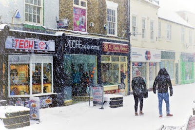 Picture: Hardy shoppers in Brigg during a spell of snowy weather in 2018 - see Nigel Fisher's Brigg Blog