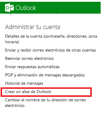Crear varios alias en Outlook