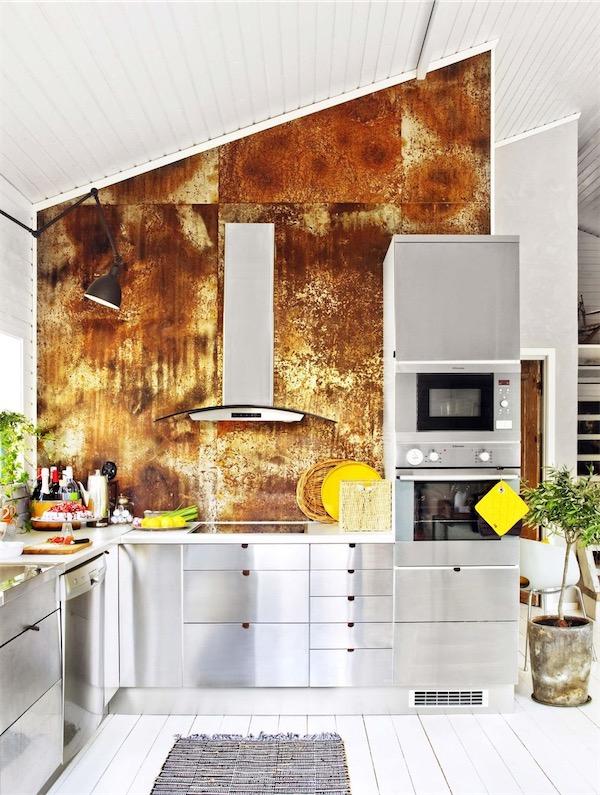 muebles de cocna de acero con frontal oxidado chicanddeco