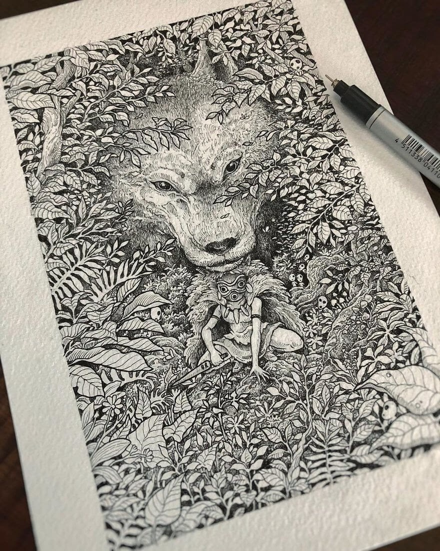 11-Princess-Mononoke-Kerby-Rosanes-Free-Hand-Detailing-and-Doodling-www-designstack-co