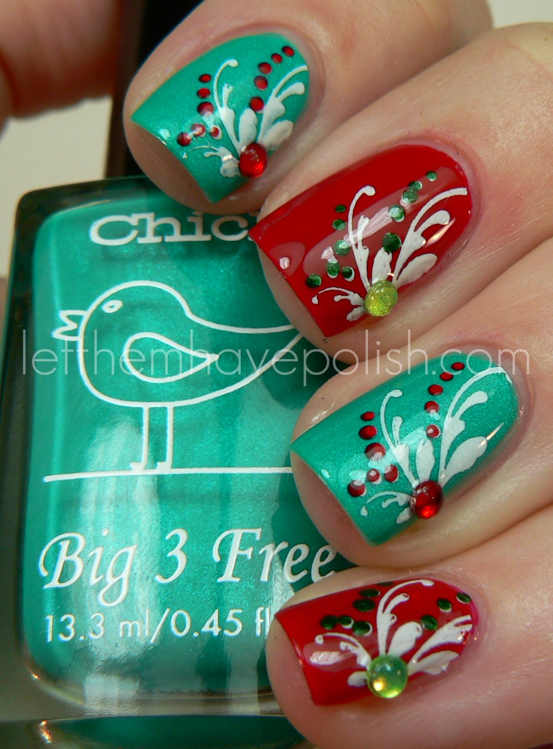 Christmas Nail Art French Manicure Red With White: Let Them Have Polish!: Holiday Skittles With Chick Nail