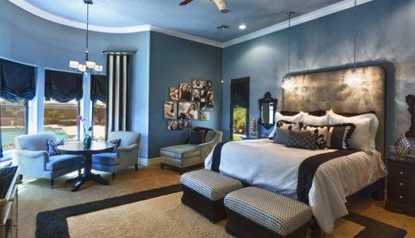 Dormitorio matrimonial azul