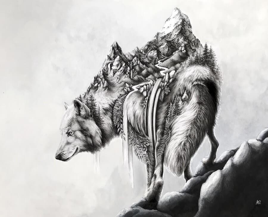 04-Wolf-Alyse-Dietel-Animal-Drawings-Surrealism-www-designstack-co