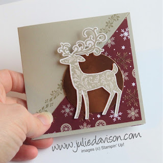 VIDEO Tutorial: Stampin' Up! Dashing Deer Diagonal Easel Card ~ Christmas ~ 2018 Holiday Catalog ~ www.juliedavison.com