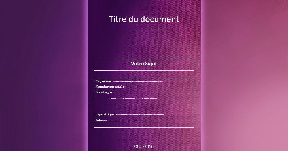 Telecharger Page De Garde Doc Pour Un Rapport De Stage