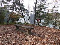くろんど池 秋の紅葉ウォーキング ベンチ