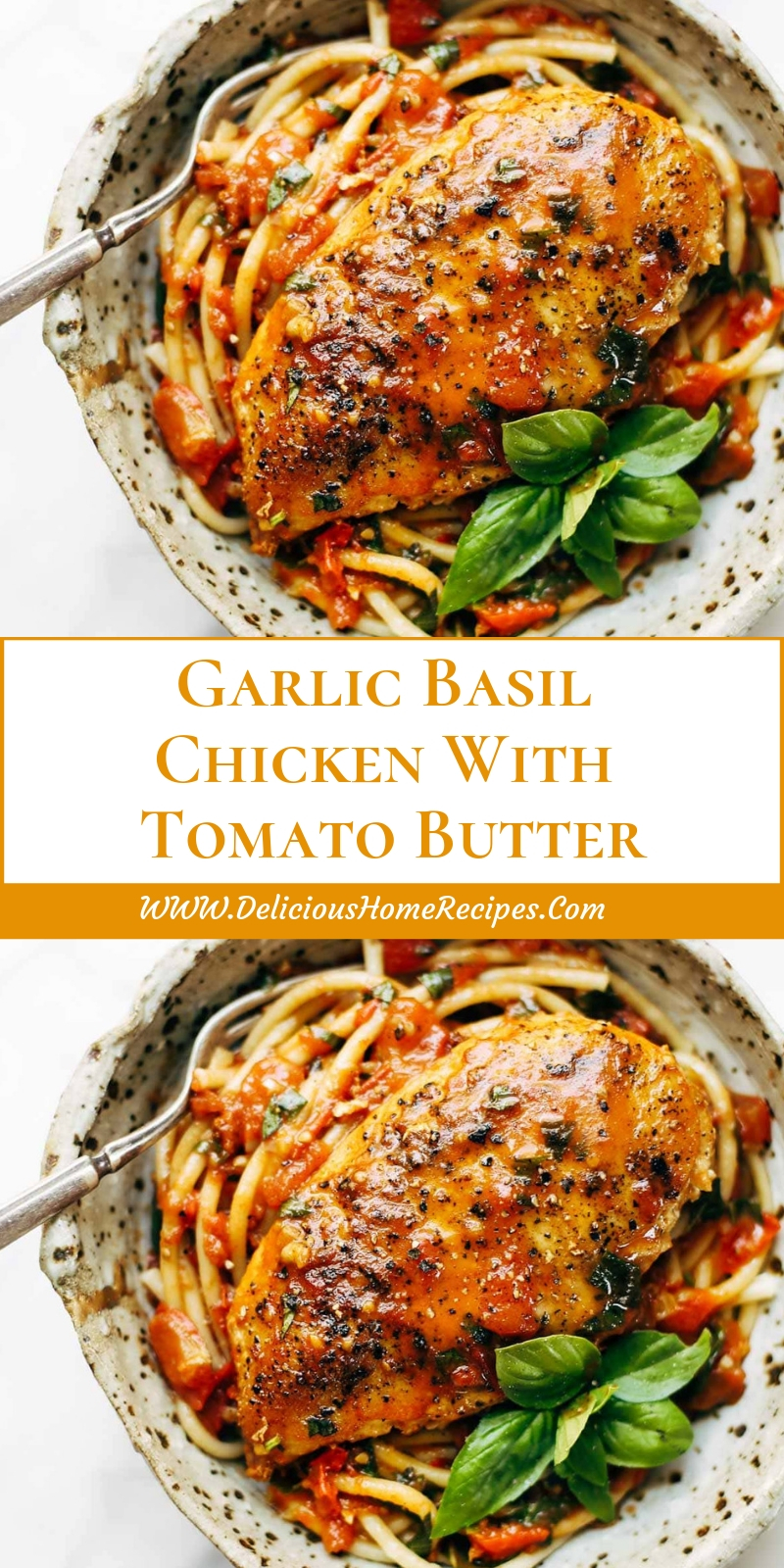 Garlic Basil Chicken With Tomato Butter