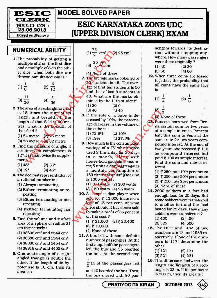 Esic Previous Year Question Paper For Udc Pdf