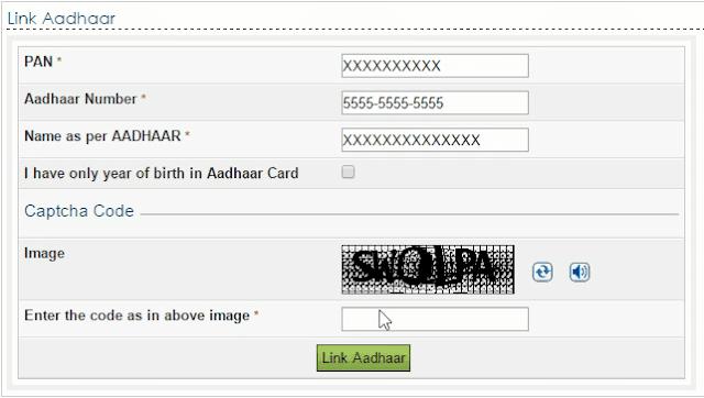 link aadhar pan form fill online image