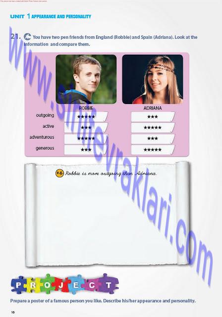 7. Sınıf İngilizce Pantera Yayınları Ders Kitabı Cevapları Sayfa 16