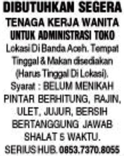 Lowongan Kerja Administrasi Toko Banda Aceh Info Loker Terbaru