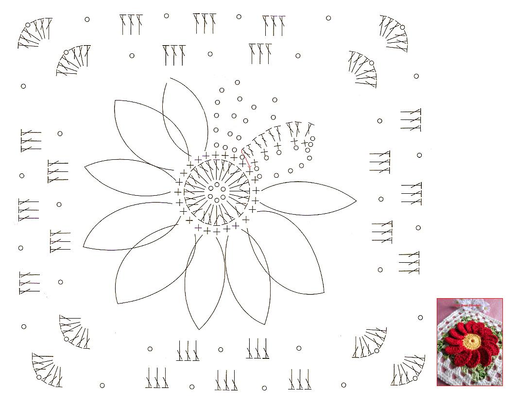 Pink Rose Crochet: Quadradinho de Crochê com Coração