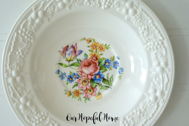 raised fruit motif floral plate