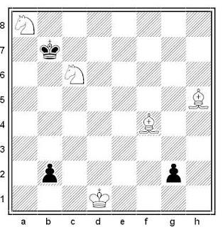 Estudio artístico de ajedrez compuesto por V. A. Bron (2º Premio, 4º Torneo FIDE 1965-67)