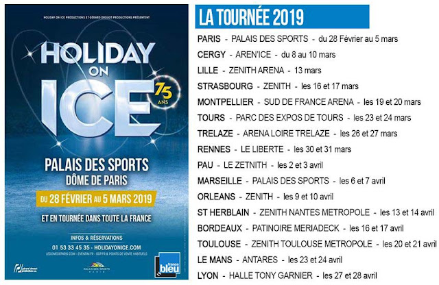 date de la tournée en France 2019 de  Showtime  de Holiday on Ice