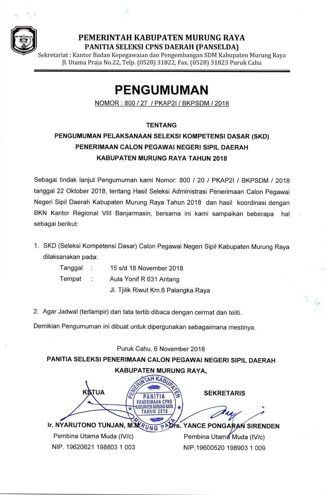 Pengumuman Seleksi CPNS 2018 Kabupaten Murung Raya
