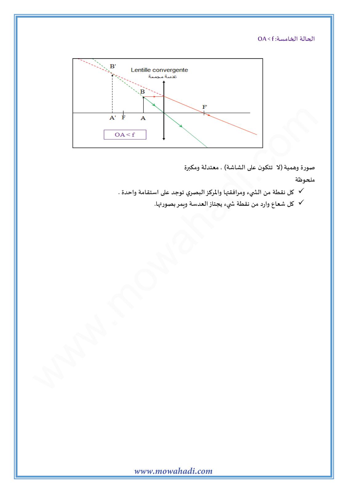العدسات الرقيقة :الانشاء الهندسي للصورة-5