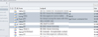 Microsoft Office Outlook emails selected in mail list prior to exporting to .eml format.
