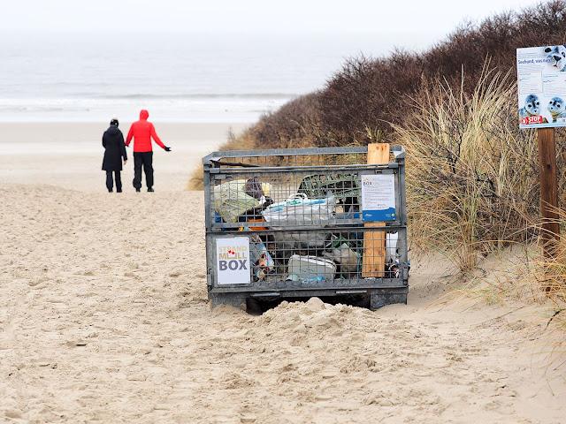Langeoog, Strandübergang, Müllbox, Strand