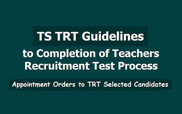 Guidelines to Completion of TS TRT Teachers Recruitment Test Process - GO No.10, Dated:06.07.2019
