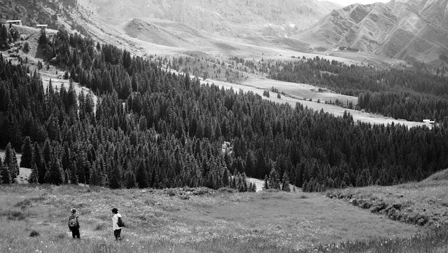 Fotografia in bianco e nero dell'Alpe di Siusi