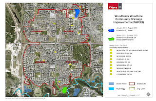 A map of the Woodlands Woodbine Community Drainage Improvement projects