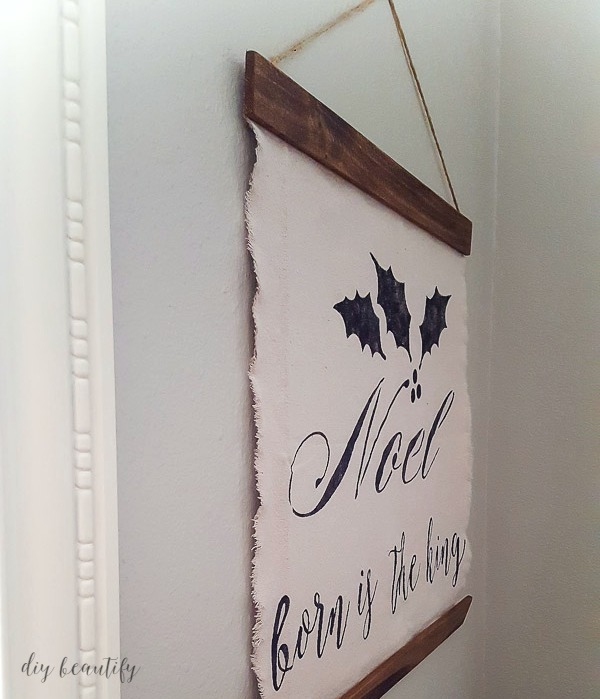 Christmas stencil farmhouse wall hanging
