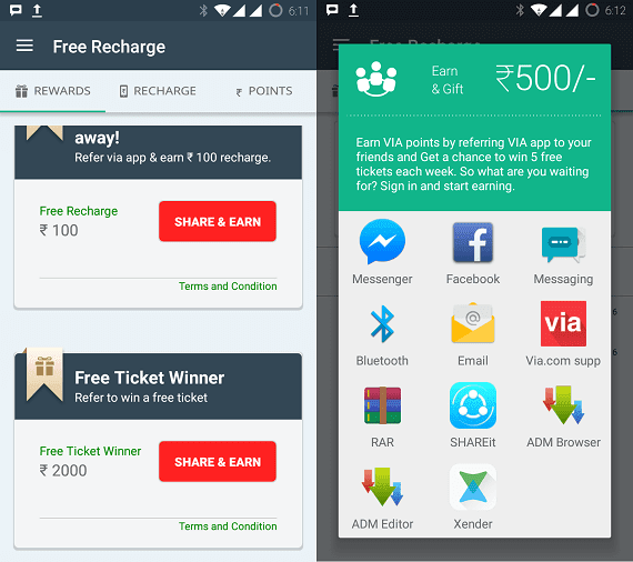 Via.com App Loot: Get Rs.100 Free Recharge & Refer and Earn