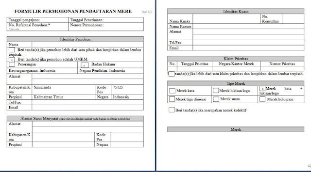 contoh form pendaftaran merek