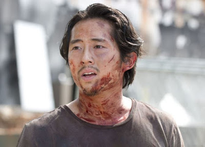 Glenn looking flustered in The Walking Dead