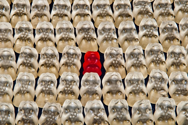 Red Gummy Bear in Center of Dozens of White Ones