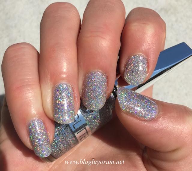flormar glitter oje gl14 holographic silver güneş