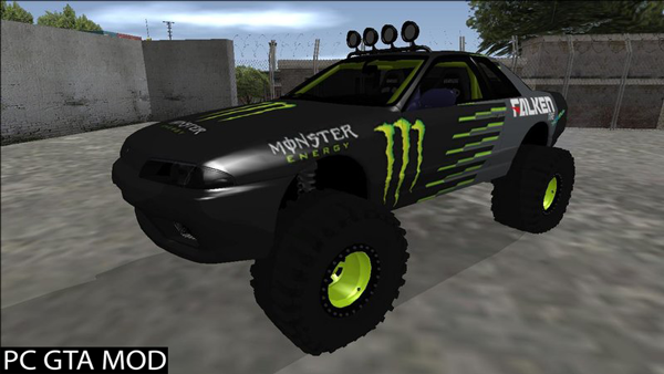 Free Download Nissan Skyline R32 Off Road Falken Monster Energy Mod for GTA San Andreas.