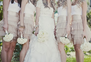 nude skirt bridesmaid dresses