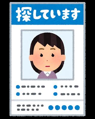 行方不明者のポスターのイラスト(女性)