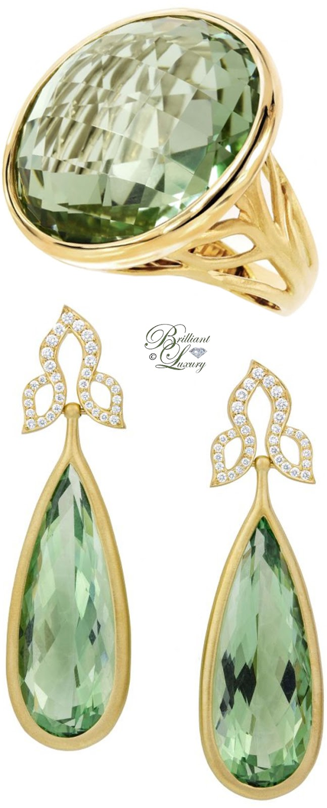 Brilliant Luxury ♦ Carelle Green Quartz Ring & Earrings