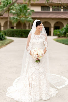 bride in cathedral wedding veil
