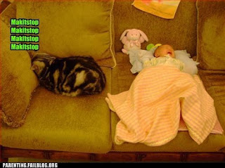 howling baby in swaddling clothes on sofa, lol cat cannot escape