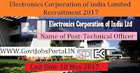 Electronics Corporation of India Limited Recruitment 2017– Technical Officer