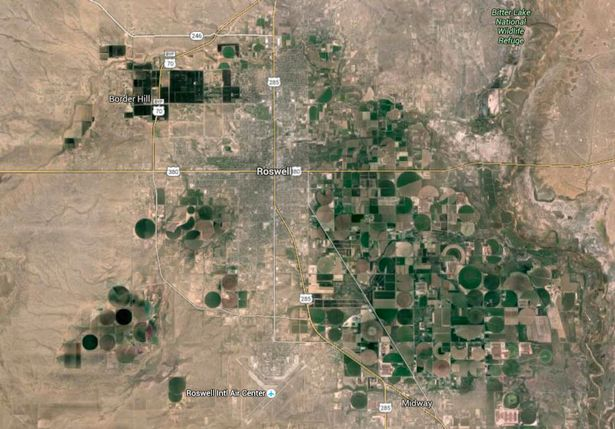 Blackout: try and zoom into Roswell and you will have difficulty on Google Earth (Image: Google Maps)