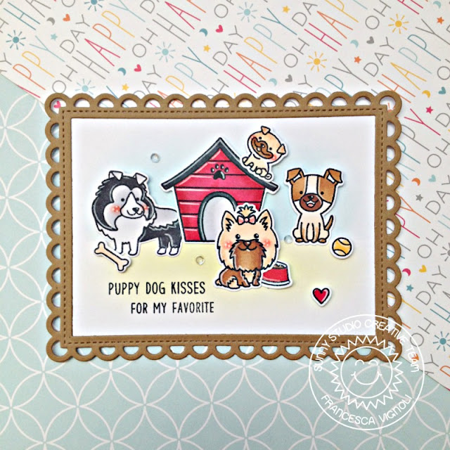 Sunny Studio Stamps: Puppy Dog Kisses Puppy Parents Fancy Frames Puppy Themed Card by Franci Vignoli